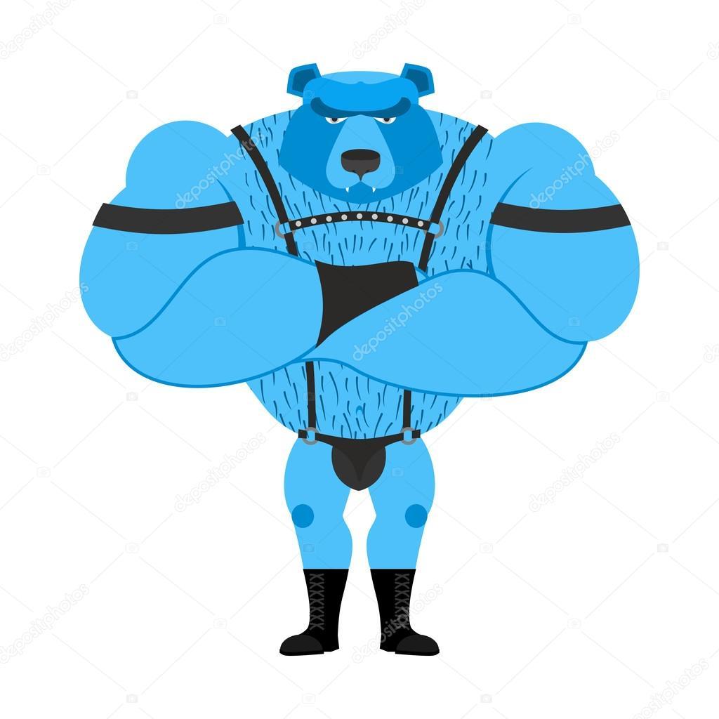 Gay bear symbol of sexual community. Big strong blue bear. Tons