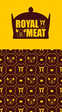 Royal meat. Excellent tasty beef and pork. Logo for farming and