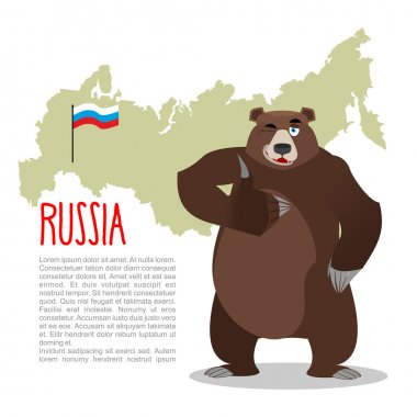 Russian Bear and Russian map. Wild animal showing thumbs up and