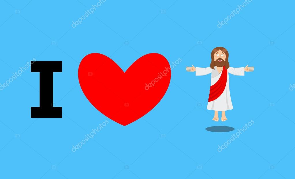 I Love Jesus Symbol Of Heart And Son Of God Biblical Character