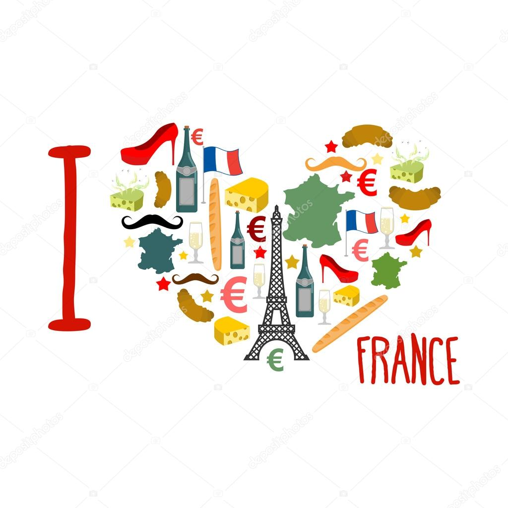 I Love France Traditional French National Set Of Icons In Form