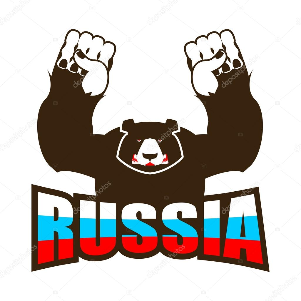 фото русского медведя с флагом