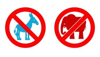 Ban elephant. Stop donkey. Prohibited Symbols USA political part