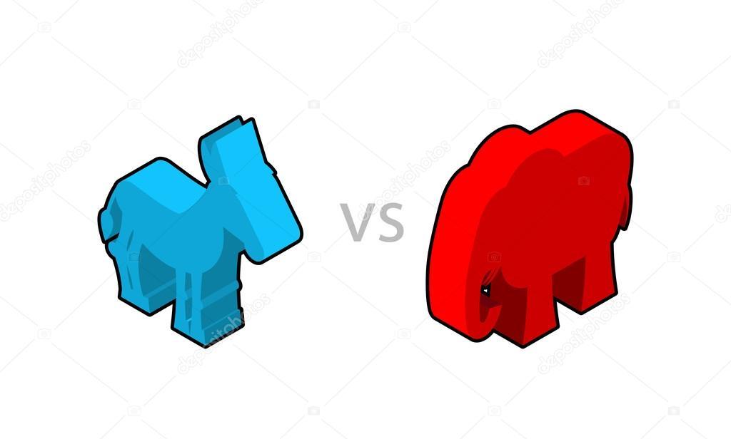 Elephant And Donkey Isometrics Symbols Of Usa Political Party
