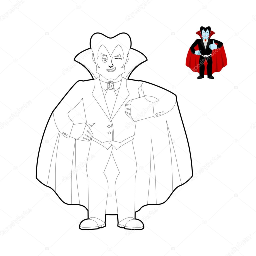 Dracula coloring book. Vampire Count in linear style. Funny ghou ...