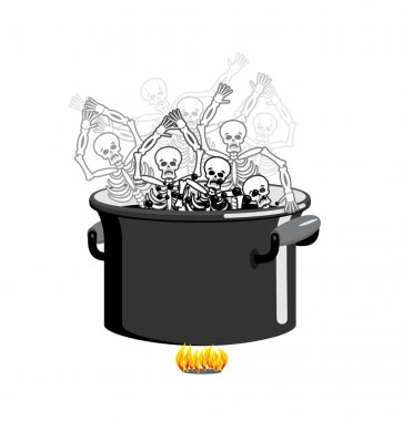 Sinners in cauldron in hell. Skeletons are cooked in resin in un