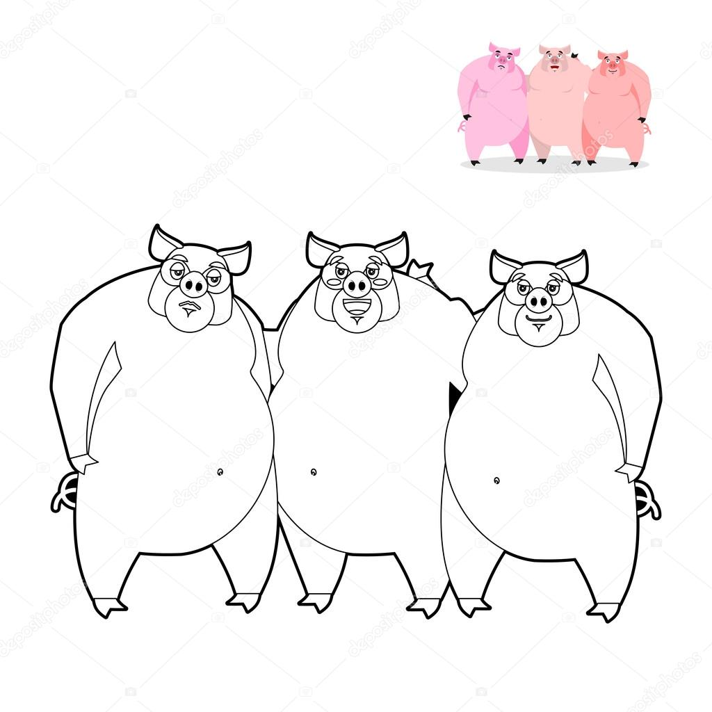 3 pig coloring book. Three Little Pigs in linear style. Funny f ...