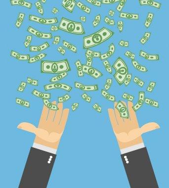 Hand catch money. Money rain. Falling money. Cash flow. Business