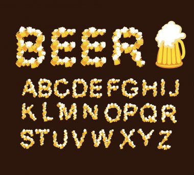 Font beer. Letters from beer mugs