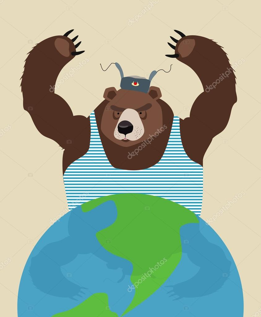 Russian bear threatens peace. The globe. Traditional Russian clo