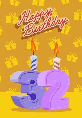 Happy birthday card with 32 th birthday