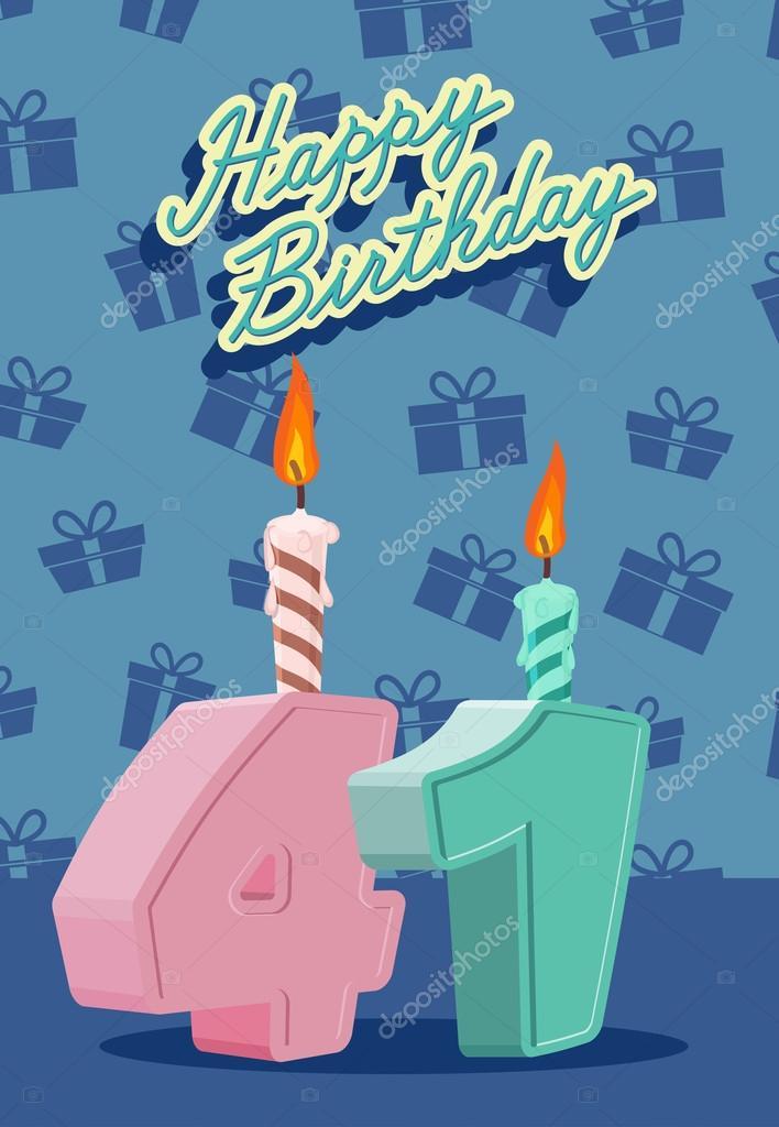 Alles Gute zum Geburtstagskarte mit 41. Geburtstag — Stockvektor