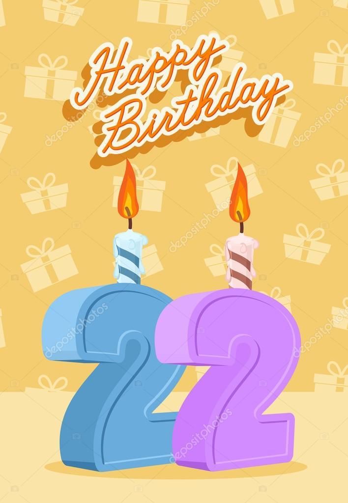grattis på 22 årsdagen 22 år firande, 22 Grattis på födelsedagen — Stock Vektor  grattis på 22 årsdagen