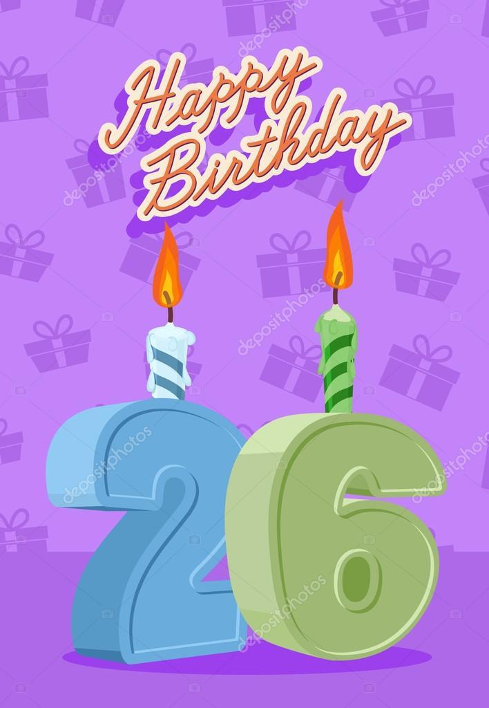 26 Jahre Geburtstagskarte — Stockvektor © popaukropa #66226047