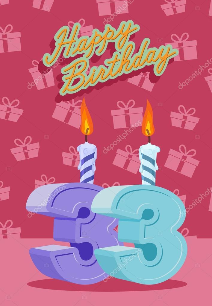 33 születésnapi köszöntő 33 éves ünnepe, 33nd boldog születésnapot — Stock Vektor  33 születésnapi köszöntő