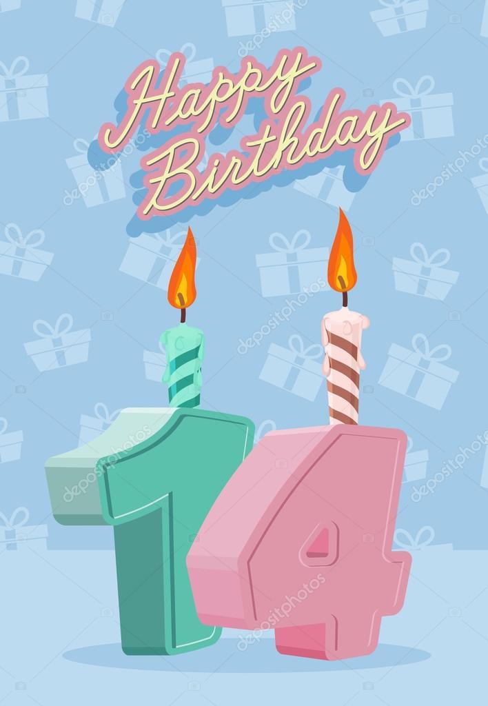 14 Jahre Feier 14 Geburtstag Stockvektor Popaukropa 66226227