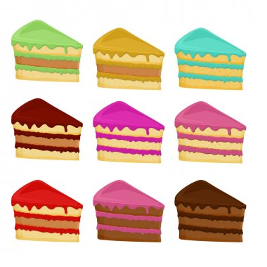 Set of different cake slices. Vector illustration stock vector