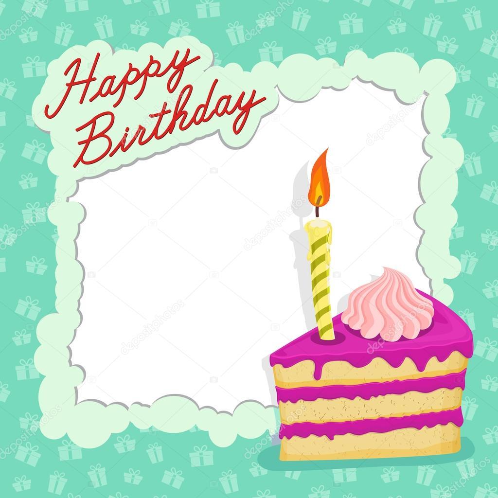 Happy Birthday Cake Card Stock Vector