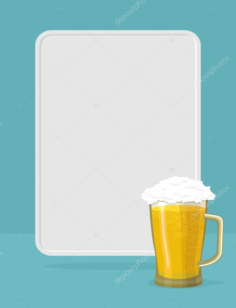 Jarra de cerveza con espuma. marco para el texto. Cartel — Vector de ...