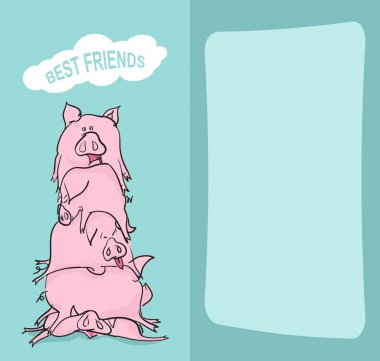Happy Birthday. Bunch of pigs. Best friends forever. Greeting card. stock vector