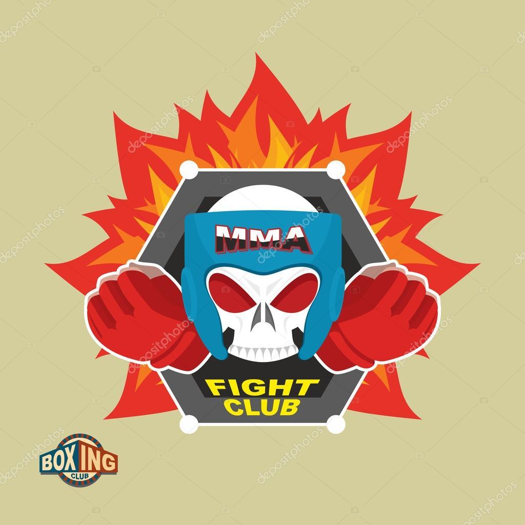 Mixed Martial Arts Labels. Skull   boxing helmet. MMA logo