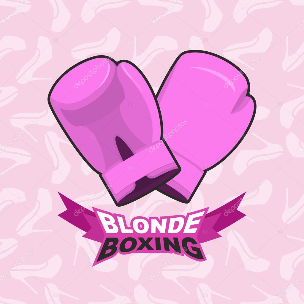 blonde boxing. logo for comic female boxing. Pink boxing gloves