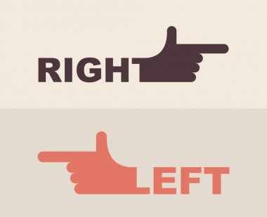 logo  hand. Shows  direction of  right hand, left hand