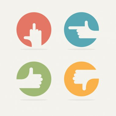 Set Icon hand gestures: fuck, good, bad, left. Vector illustrati
