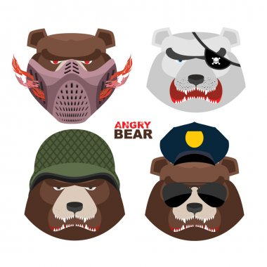 Bears set. A masked bear, polar bear, grizzly bear PIRATE in an