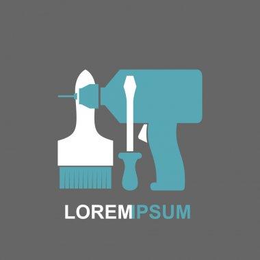 Carpentry tools logo Screwdriver, drill, brush. Vector illustrat