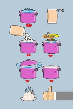 Cooking dumplings. Vector  instruction in Picture Cooking dumpli