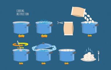 Cooking instructions. Infographics of cooking dumplings. Vector