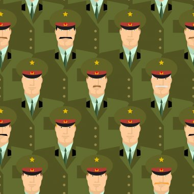 Russian military officers seamless pattern. Army background of p
