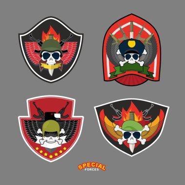 Set military and armed labels logo. Vector illustration. Skull,