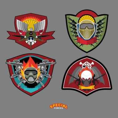 Set Army logo. Vector illustration. Arms and wings