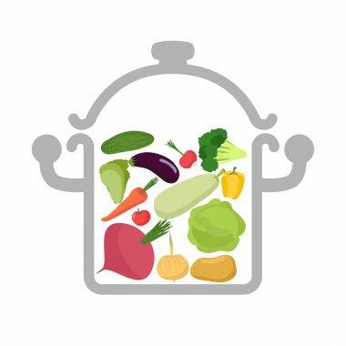 Vegetables in a saucepan. Logo for  vegetarian menu. Useful and