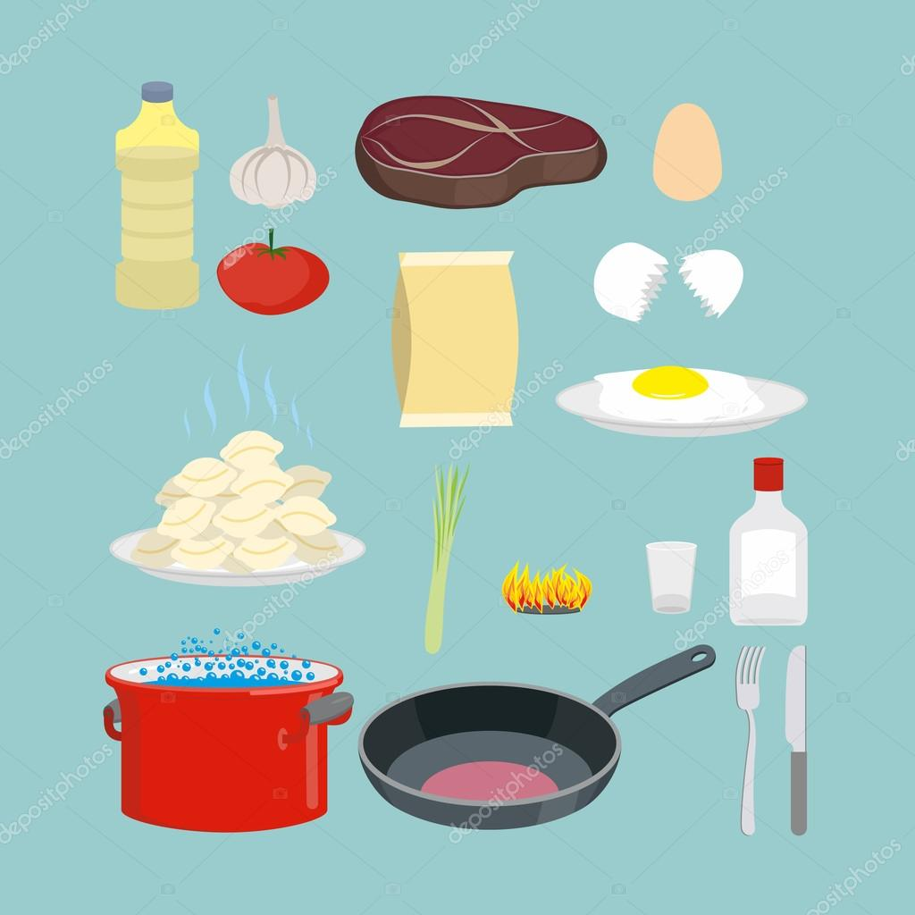 A set of kitchen utensils and food. Pan and casserole, meat and