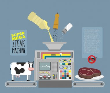 Super mega steak machine. Automatic line for  production of meat