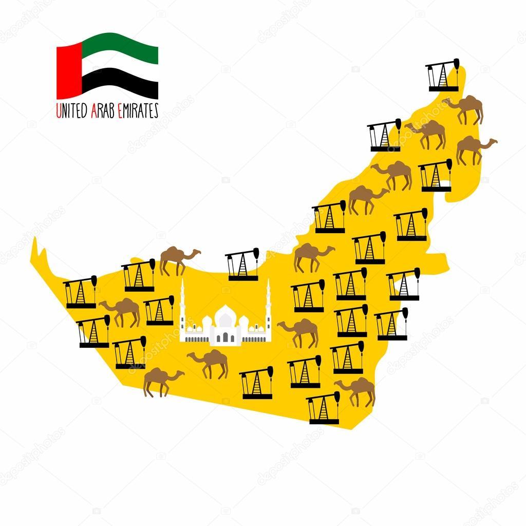 Map United Arab Emirates (UAE). Desert and oil rigs. Infographic