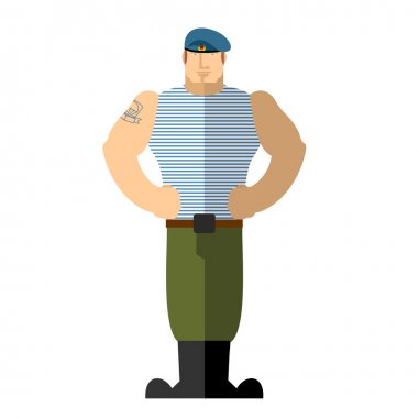 Russian soldiers. Military man in t-shirt and blue beret. A stro