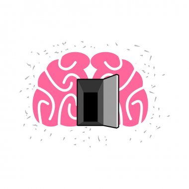 Brain with door open. Open mind. Vector illustration