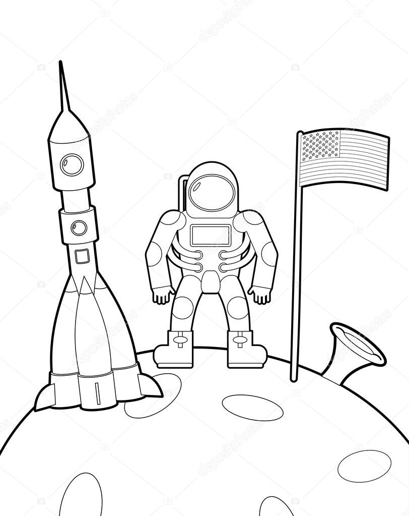 astronaut with a flag on moon space rocket ship coloring book