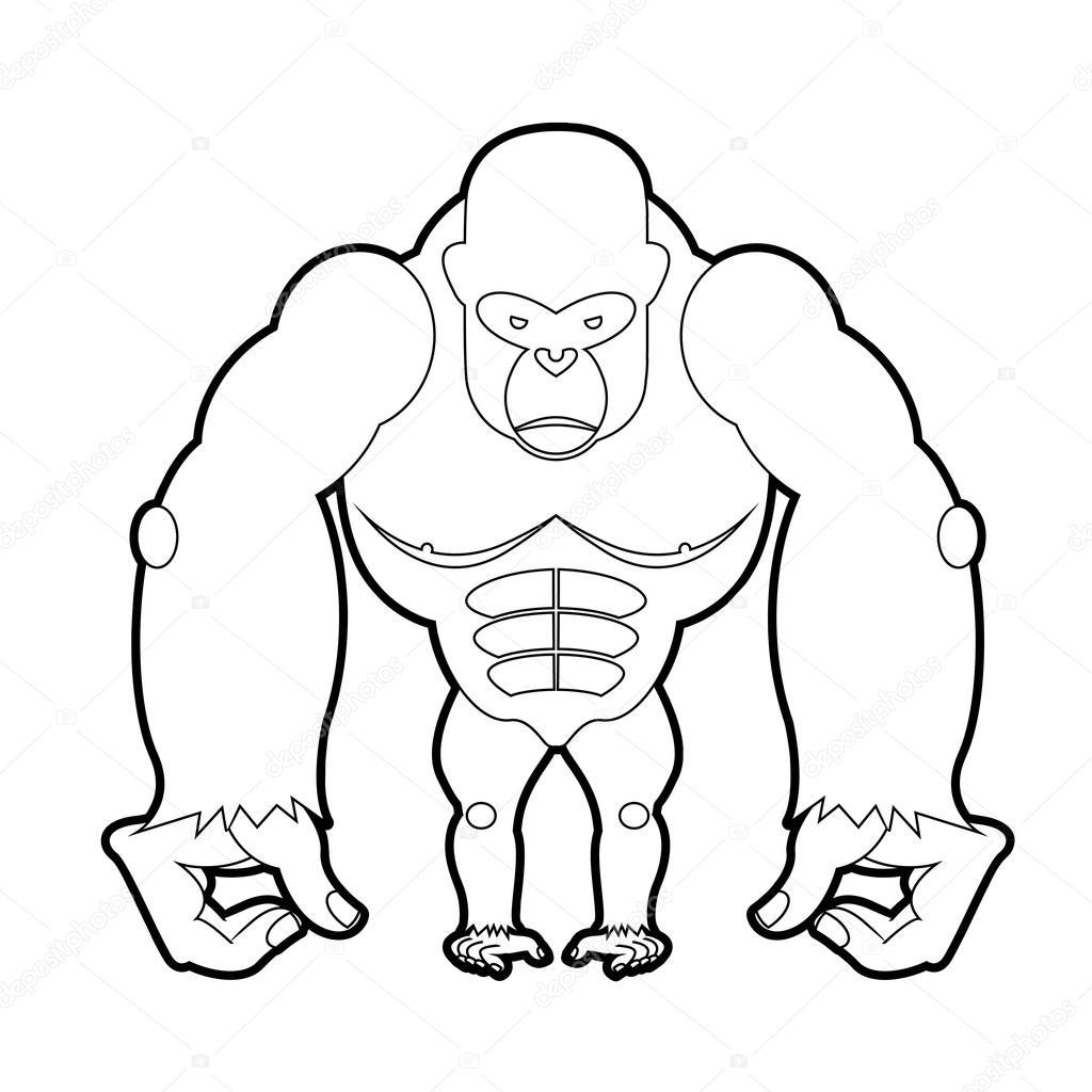 большая горилла книжка раскраска векторная иллюстрация