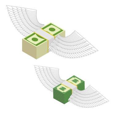 Money with wings. Bundles of money flying around. Vector illustr