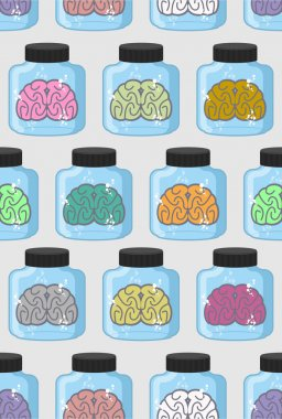 Laboratory examination  brains seamless pattern in jar. Color or