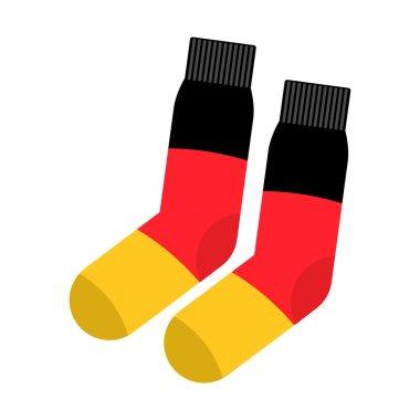 Patriot socks Germany. Clothing accessory German flag. Vector il