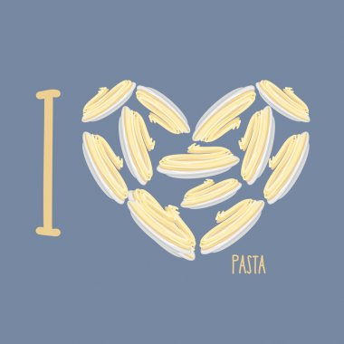 I love pasta. Symbol heart of plates with spaghetti. Vector illu