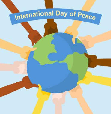 International day of peace. Hands of different nationalities hol