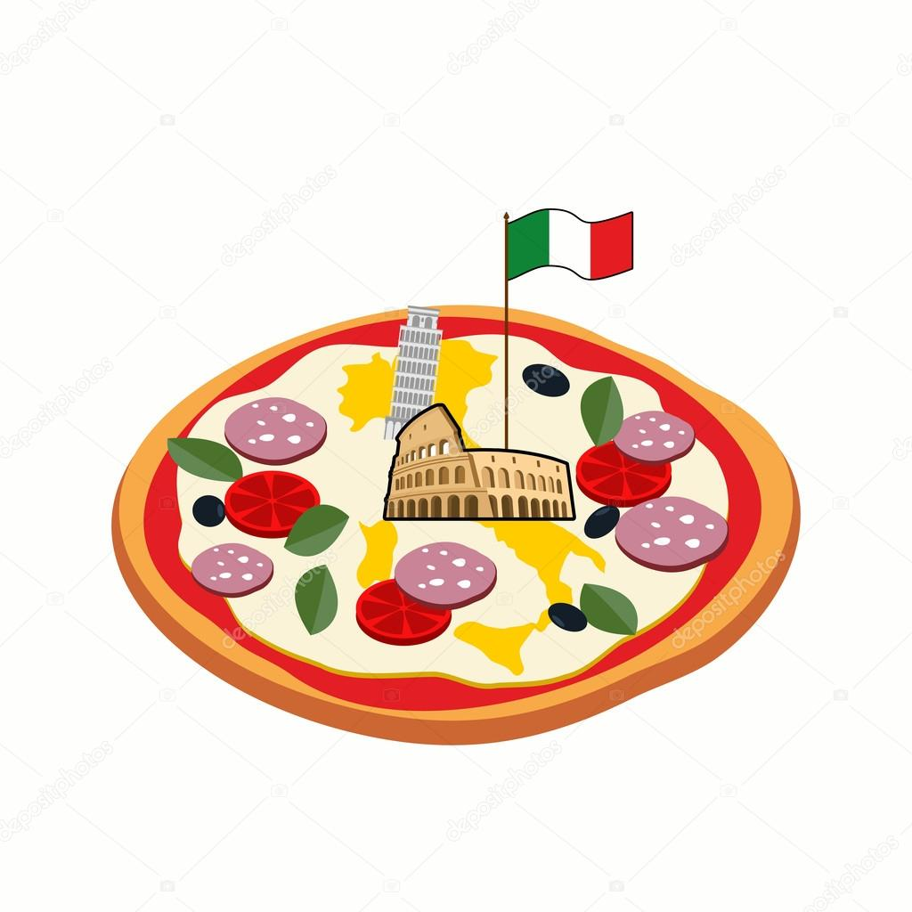 italian pizza cheese in form of a silhouette map of italy with
