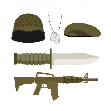 Set Army Military icon . Soldiers helmet and badge, gun and knif